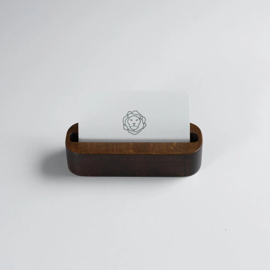 Dark Mahogany Stained Beechwood Business Card Holder