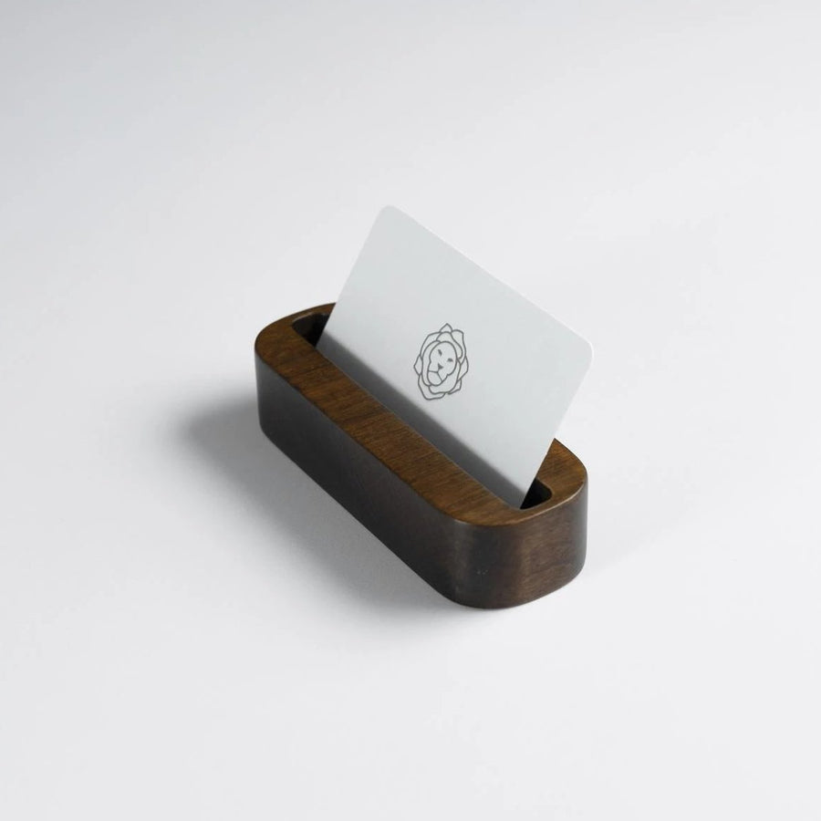 Walnut Stained Beechwood Business Card Holder