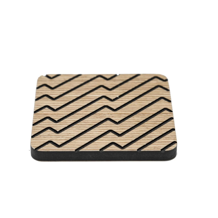 Iulia Black And Oak Zigzag Wood Coaster Set Black And Oak Coasters Zigzag Iulia