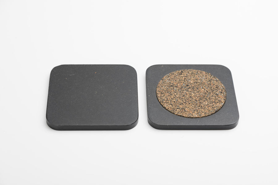 Iulia Black Wood Coaster With Cork Rubber Bottom Set Black Coasters Standard Iulia