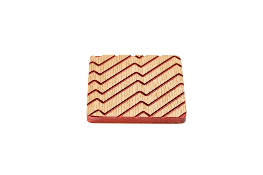 Iulia Red And Oak Zigzag Wood Coaster Set Coasters Red And Oak Zigzag Iulia