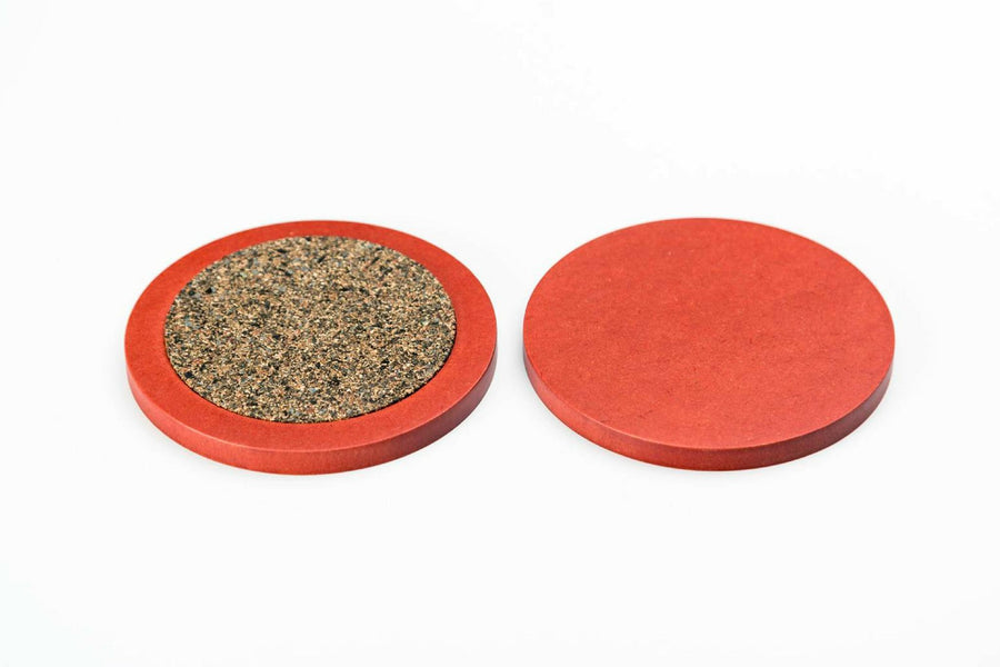 Iulia Red Round Wood Coaster With Cork Rubber Bottom Set Coasters Red Round Iulia