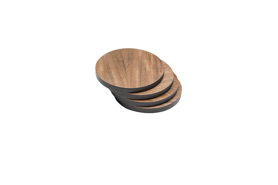 Iulia Walnut And Black Round Wood Coaster With Cork Rubber Bottom Set Black And Walnut Coasters Standard Iulia