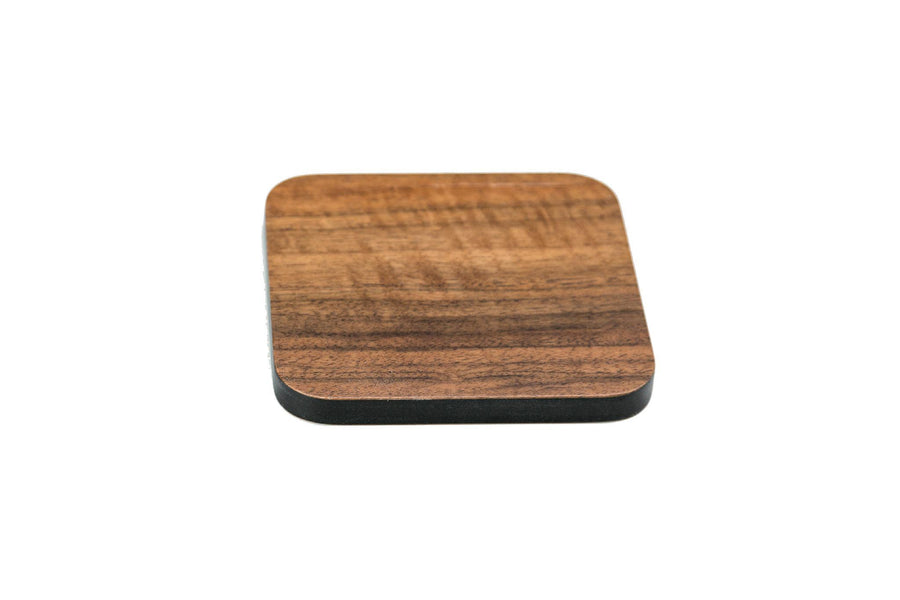 Iulia Walnut And Black Wood Coaster With Cork Rubber Bottom Set Black And Walnut Coasters Standard Iulia