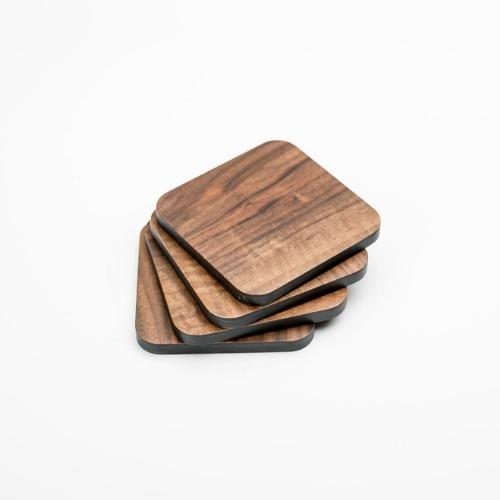 Walnut and Black Wood Coaster with Cork Rubber Bottom Set