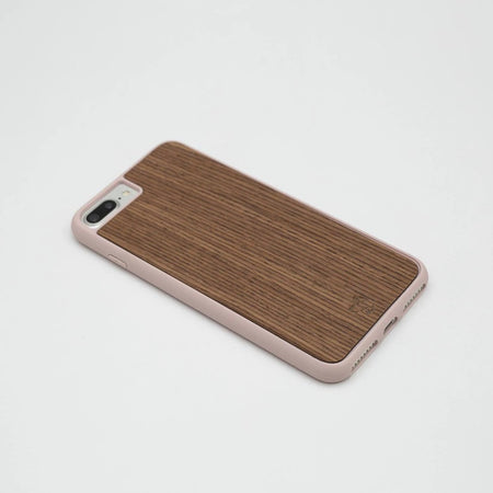 Walnut Quartered Dark Wooden iPhone Case with Nude Frame | Wood iPhone Case | IULIA