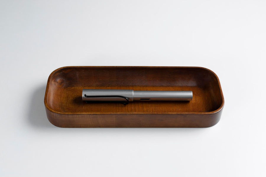 Dark Mahogany Stained Beechwood Pen Tray