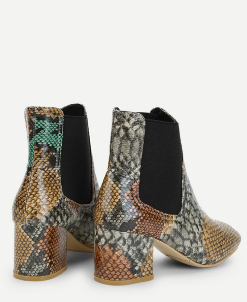 Color Snake Print Ankle Boots