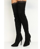 Lost Ink Over the Knee Boots with Lace Detail