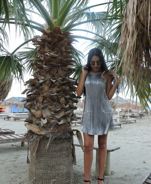 Metallic Stripe Shift Dress Silver