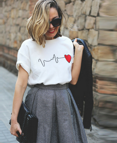 My Heart is beating for you white t-shirt