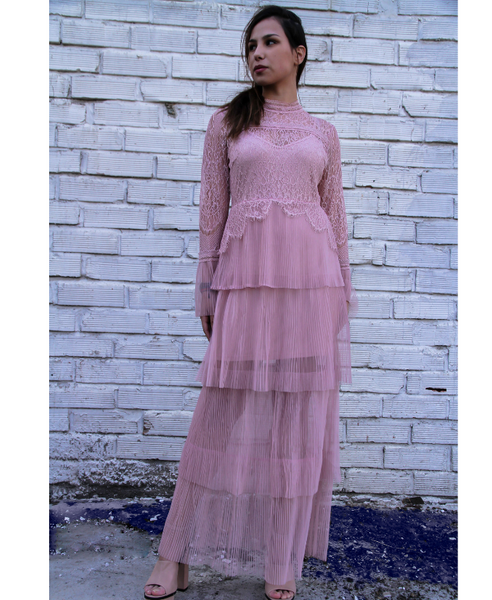 True Decadance Pink Lace Maxi Dress