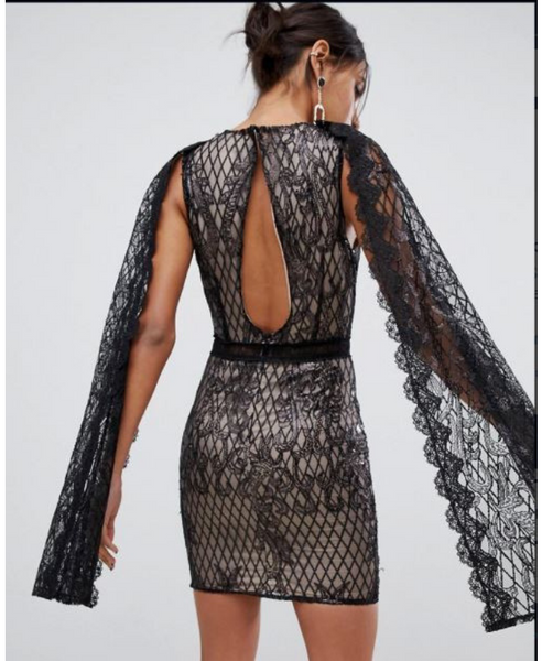 True Decadence Sequin Lace cape Detail Pencil Dress