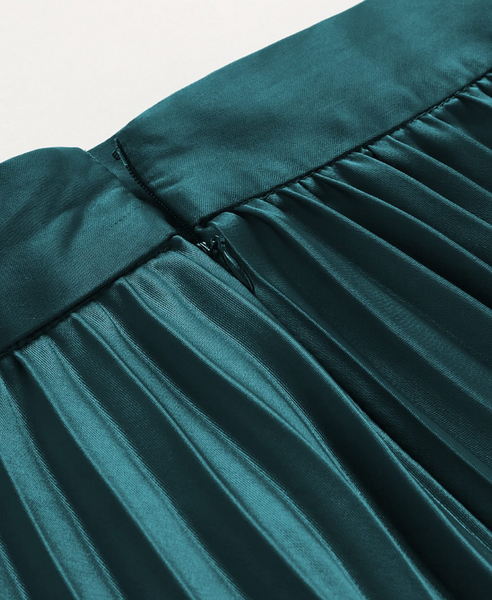 Elizabeth Green Satin Pleated Skirt