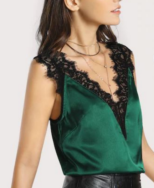 Verona Lace Trim Satin Top