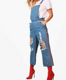 Victoria Denim jumpsuit with red stripe