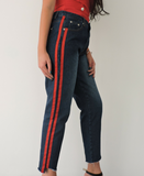 Boyfriend Jean with Red Stripes