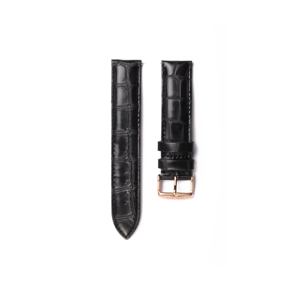 Black Croco Leather Strap 15L