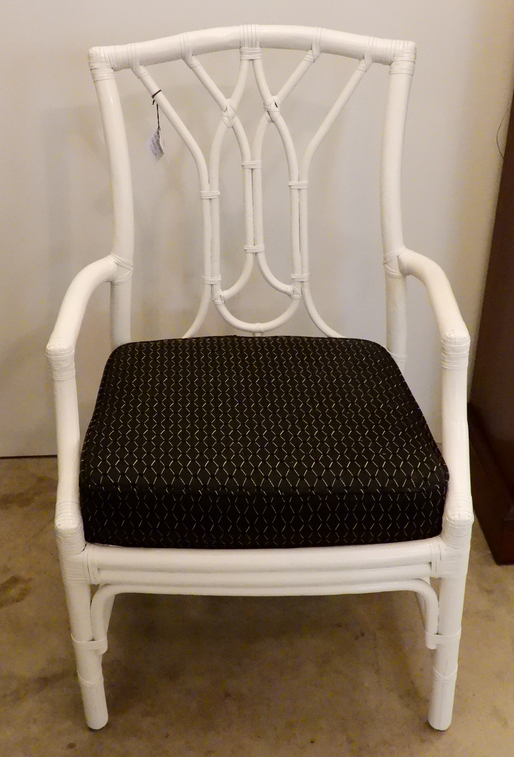 White Faux Bamboo Dining Chairs