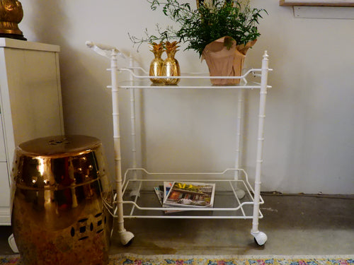 White Faux Bamboo Bar Cart