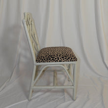 Bamboo Chair With Designer Animal Print Fabric Seat