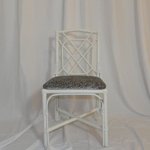 Set of White Lacquer Bamboo Chairs