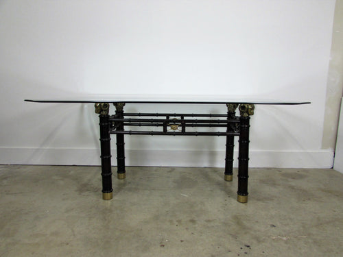 Maison Jansen Inspired Brass & Faux Bamboo Dining Table