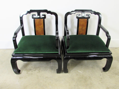 Asian Inspired Arm Chairs in Black Lacquer, Pair