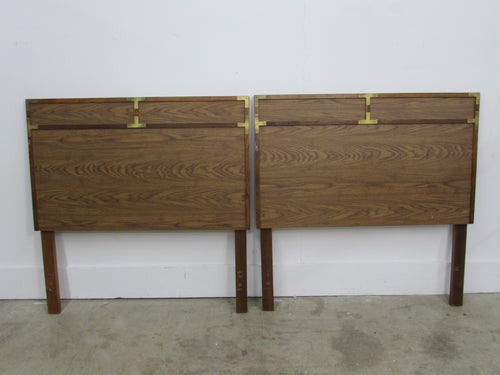 Pair of Campaign Twin Headboards