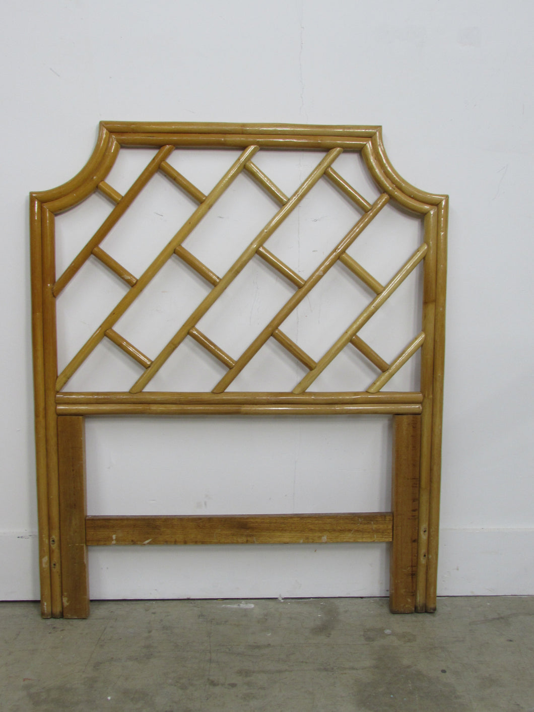 Vintage Bamboo Rattan Chinese Chippendale Twin Headboard