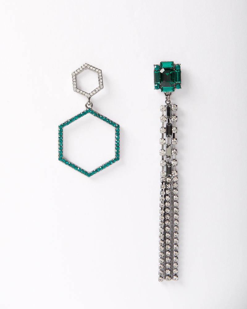 Geometric Emerald Dangle Earrings