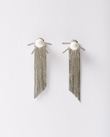 Geometric Tassel Pearl Drop Earring