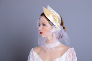 The Golden Swan Birdcage Veil