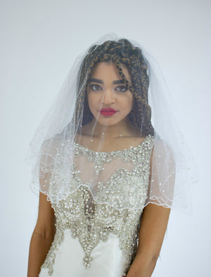 Custom Stoned Double Layer Veil