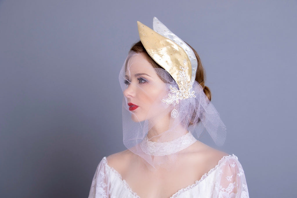 Custom Golden Swan Birdcage Veil