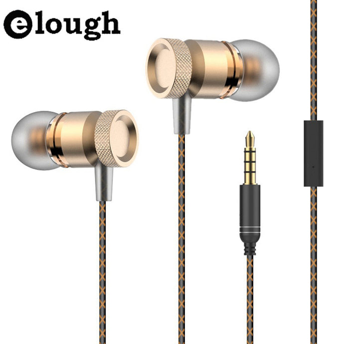 Elough Metal In-ear Earphone For Phone With HD Microphone 3D Stereo Headphone and Earphones For iPhone Samsung Earpiece Earbuds