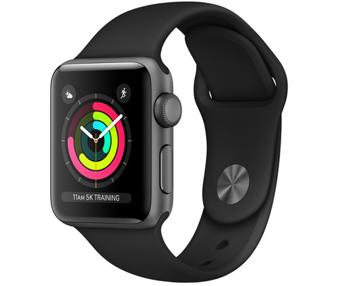 Apple Watch Sport Series 3 GPS 38mm Space Gray Aluminum Case (Black Sport Band)