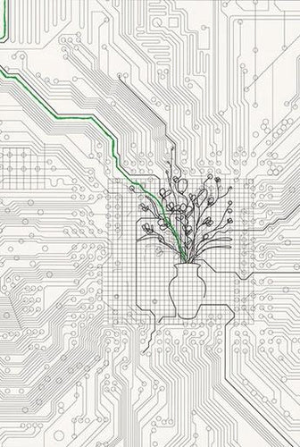 Analia Saban - Bouquet of Flowers within Circuit Board (with Green Line), 2014