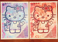 Shepard Fairey - Hello Kitty Pink & Blue, diptych, 2010
