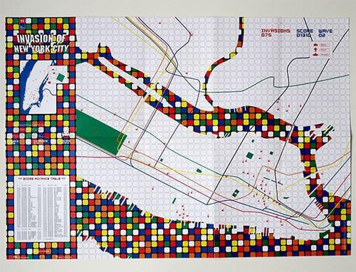 Invader - Invasion of New York City, map, 2003