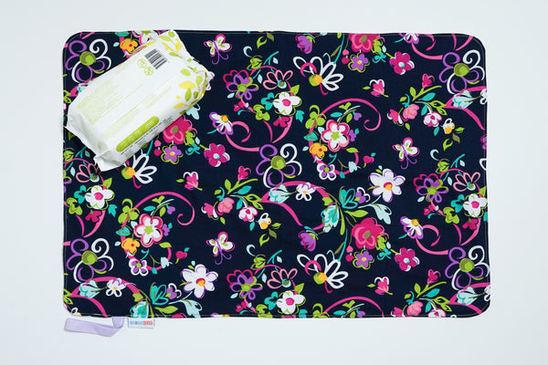 Waterproof Changing Mat - Navy Flora (L)