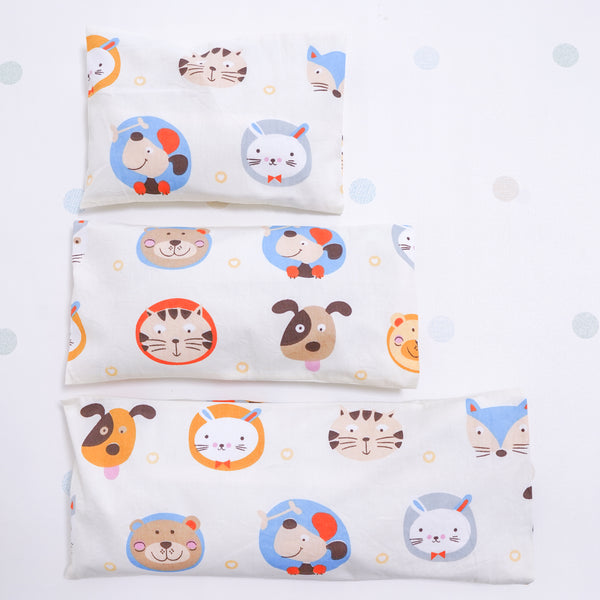 Beansprout Husk Pillow - Little Animals (Pale Yellow)