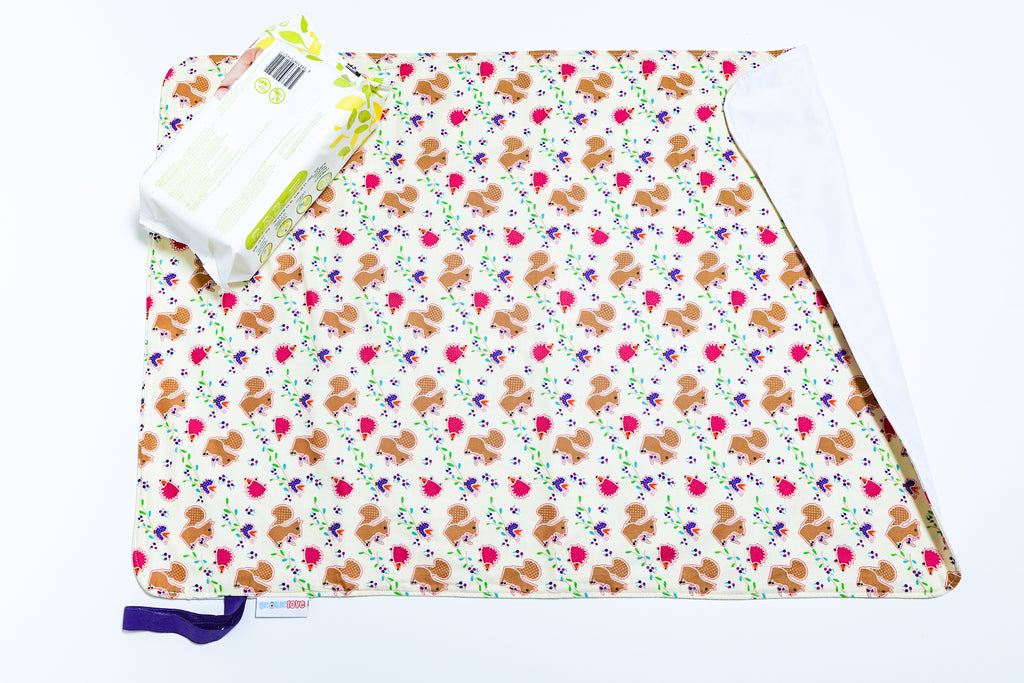 Waterproof Changing Mat - Squirrel & Hedgehog
