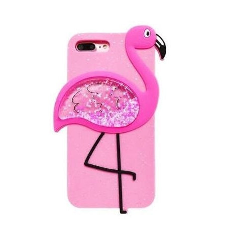 coque iphone 6 7 8 flamant rose paillettes girly silicone