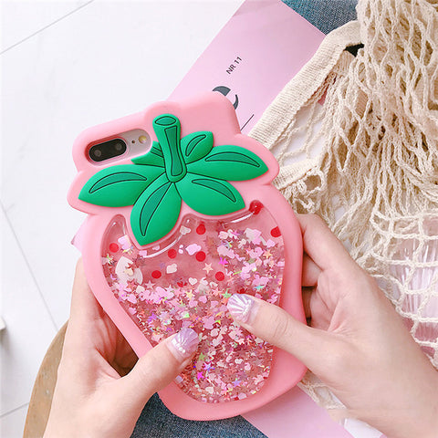 Coque iPhone rose fraise