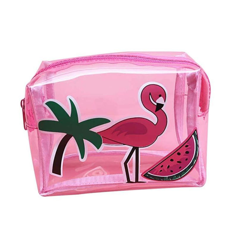 trousse rose transparente flamant rose girly tendance