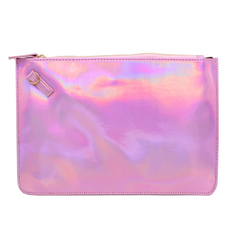 Pochette rose holographique hologramme girly