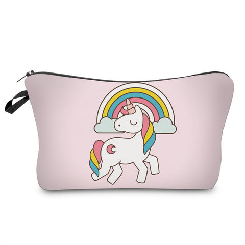 trousse à maquillage rose licorne arc-en-ciel