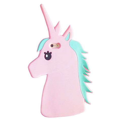 Coque iphone licorne rose en silicone