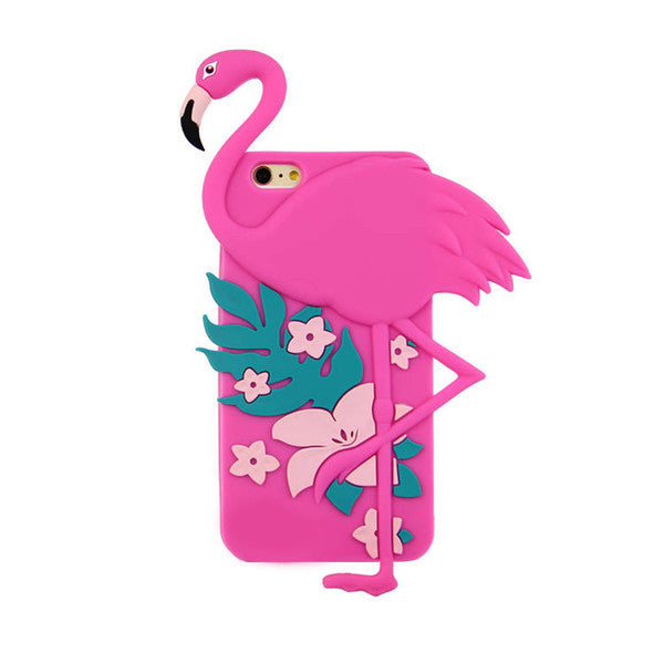 coque iphone flamant rose relief 3d silicone